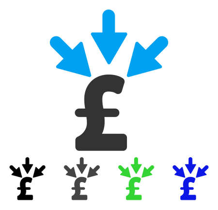 Aggregate Pound Payment flat vector icon. Colored aggregate pound payment gray, black, blue, green icon variants. Flat icon style for graphic design.