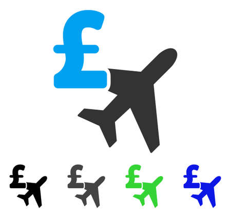 Aviation Pound Business flat vector pictograph. Colored aviation pound business gray, black, blue, green pictogram variants. Flat icon style for application design.