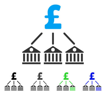 Bank Pound Expenses flat vector pictograph. Colored bank pound expenses gray, black, blue, green pictogram versions. Flat icon style for web design. Ilustração