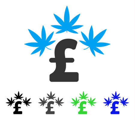 Cannabis Pound Business flat vector illustration. Colored cannabis pound business gray, black, blue, green pictogram versions. Flat icon style for graphic design. Illustration