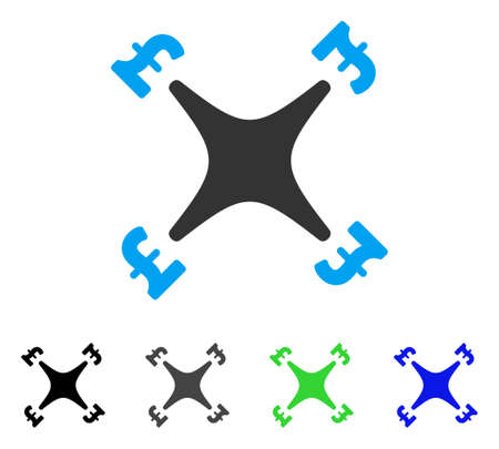 Pound Business Drone flat vector pictograph. Colored pound business drone gray, black, blue, green pictogram versions. Flat icon style for graphic design. Illustration
