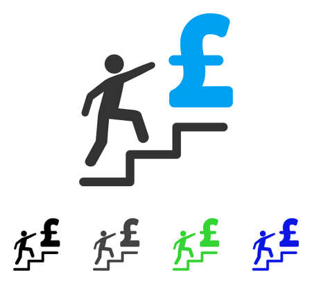 Pound Business Stairs flat vector icon. Colored pound business stairs gray, black, blue, green pictogram variants. Flat icon style for application design.