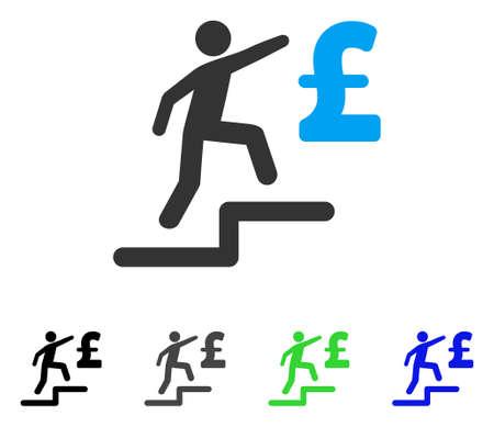 libra esterlina: Libra negocios pasos plano vector pictograma. Colores libra negocios pasos gris, negro, azul, verde, versiones de pictogramas. Estilo de icono plano para el diseño de aplicaciones. Vectores