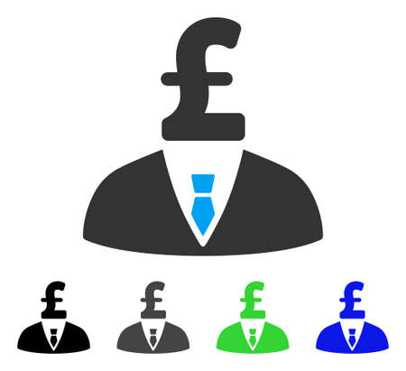 Pound Businessman flat vector illustration. Colored pound businessman gray, black, blue, green pictogram variants. Flat icon style for application design.
