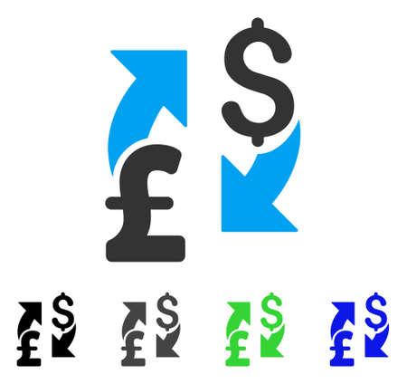 Dollar Pound Exchange flat vector pictograph. Colored dollar pound exchange gray, black, blue, green pictogram variants. Flat icon style for application design.