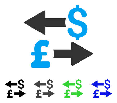 Dollar Pound Transactions flat vector pictogram. Colored dollar pound transactions gray, black, blue, green icon versions. Flat icon style for graphic design. Illustration