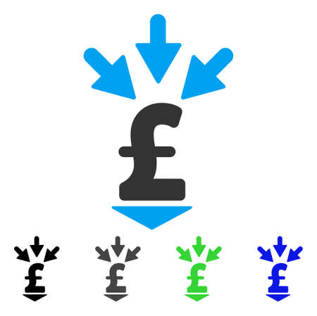 Integrate Pound Payment flat vector pictogram. Colored integrate pound payment gray, black, blue, green pictogram versions. Flat icon style for graphic design. Illustration