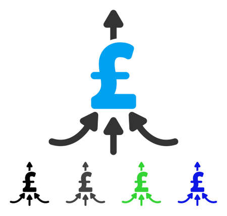 takings: Pound Financial Aggregator flat vector illustration. Colored pound financial aggregator gray, black, blue, green icon versions. Flat icon style for application design.