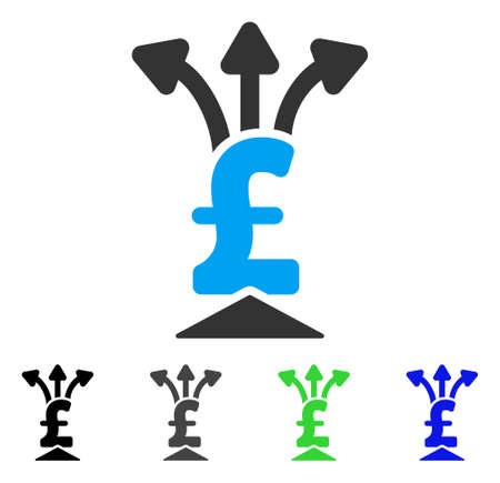 takings: Pound Aggregator flat vector illustration. Colored pound aggregator gray, black, blue, green pictogram variants. Flat icon style for graphic design. Illustration