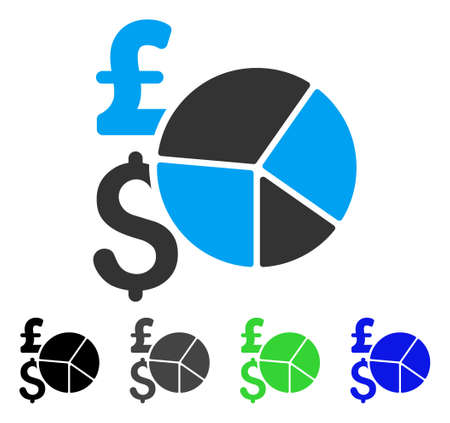 Pound And Dollar Pie Chart flat vector pictogram. Colored pound and dollar pie chart gray, black, blue, green icon versions. Flat icon style for web design.