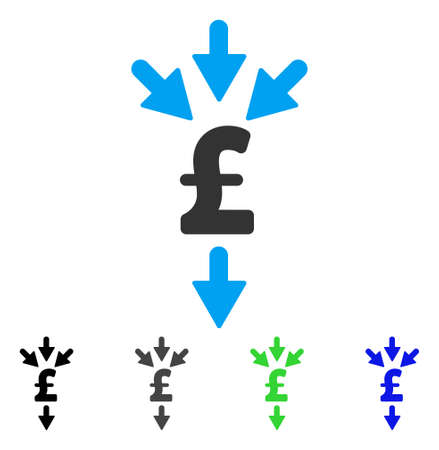 Pound Combine Payments flat vector pictogram. Colored pound combine payments gray, black, blue, green icon versions. Flat icon style for web design. Illustration