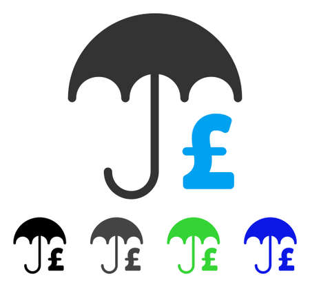 Vector flaches Vektorpiktogramm des Pound-Finanzregenschirmes. Farbige graue, schwarze, blaue, grüne Ikonenvariationen des Finanzschirmes Regenschirm. Flache Ikonenart für Grafikdesign.