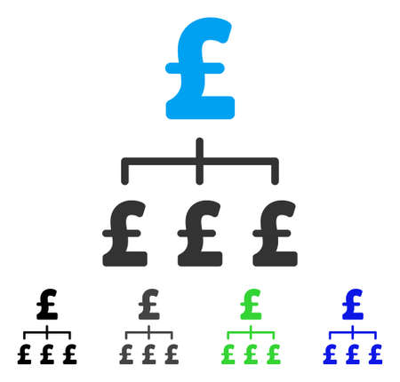 Pound Hierarchy flat vector pictogram. Colored pound hierarchy gray, black, blue, green pictogram versions. Flat icon style for application design. Illustration