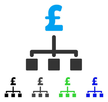 Pound Hierarchy flat vector icon. Colored pound hierarchy gray, black, blue, green pictogram variants. Flat icon style for web design. Illustration