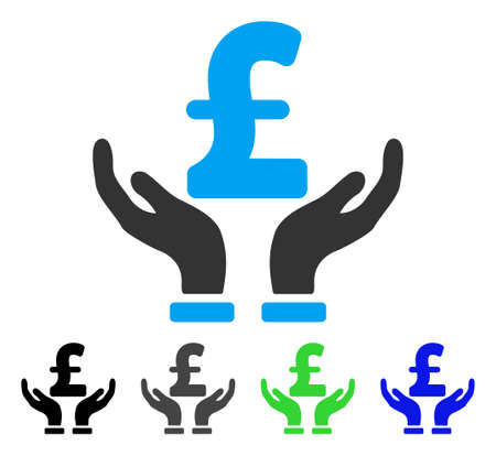 Pound Insurance Hands flat vector pictogram. Colored pound insurance hands gray, black, blue, green pictogram versions. Flat icon style for graphic design. Illustration