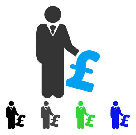 investor: Pound Investor flat vector illustration. Colored pound investor gray, black, blue, green icon versions. Flat icon style for web design.