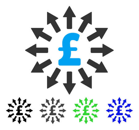 Pound Money Distribution flat vector pictogram. Colored pound money distribution gray, black, blue, green pictogram variants. Flat icon style for graphic design. Illustration