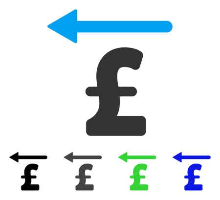 libra esterlina: Icono de vector plano libra devolución de dinero. Versiones de color gris libra, negro, azul, verde icono de libra. Estilo de icono plana para diseño web. Vectores