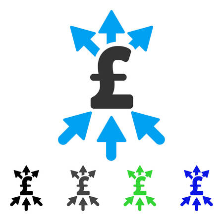 takings: Pound Payment Broker flat vector illustration. Colored pound payment broker gray, black, blue, green icon versions. Flat icon style for application design.