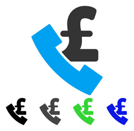cabina telefonica: Pound Payphone flat vector pictogram. Colored pound payphone gray, black, blue, green icon variants. Flat icon style for application design.
