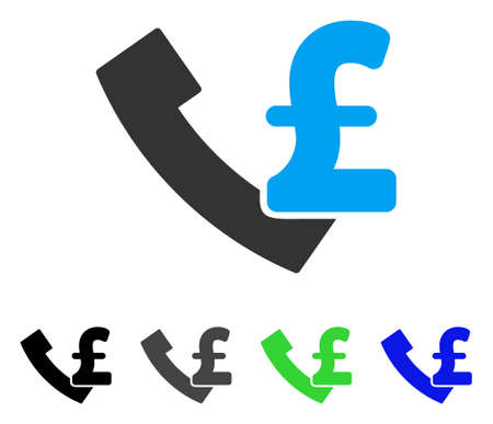 Pound Payphone flat vector icon. Colored pound payphone gray, black, blue, green pictogram versions. Flat icon style for graphic design.