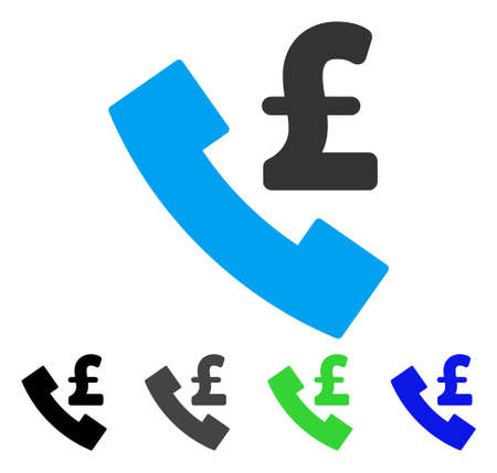 Pond telefoonautomaat platte vector pictogram. Gekleurde pond telefoonautomaat grijze, zwarte, blauwe, groene pictogramvarianten. Platte pictogramstijl voor applicatieontwerp. Stock Illustratie
