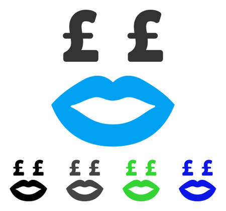 Pound Prostitution Smiley flat vector illustration. Colored pound prostitution smiley gray, black, blue, green pictogram variants. Flat icon style for application design. Illustration