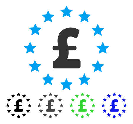 Pound Stars flat vector pictograph. Colored pound stars gray, black, blue, green pictogram variants. Flat icon style for graphic design. Illustration