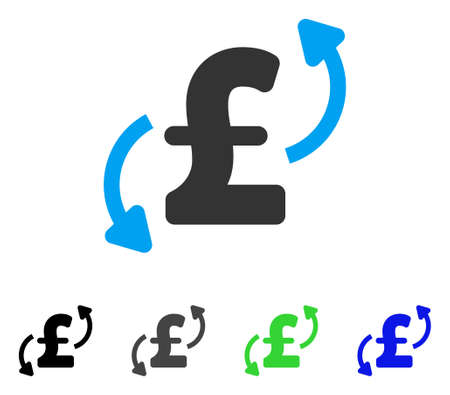 Pound Transfers flat vector icon. Colored pound transfers gray, black, blue, green icon versions. Flat icon style for web design.
