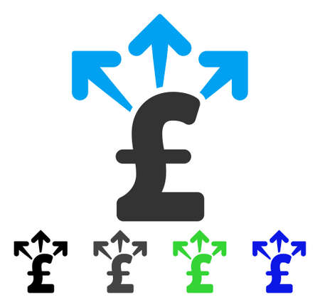 Spend Pound Money flat vector icon. Colored spend pound money gray, black, blue, green pictogram versions. Flat icon style for web design.