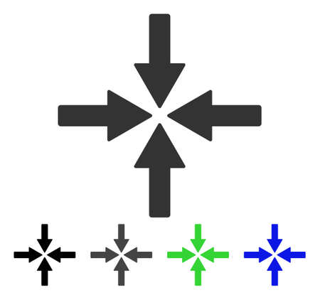 Collide Arrows flat vector pictogram. Colored collide arrows gray, black, blue, green pictogram versions. Flat icon style for application design. Ilustração