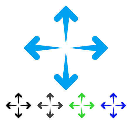 Expand Arrows flat vector icon. Colored expand arrows gray, black, blue, green pictogram variants. Flat icon style for application design. Illustration