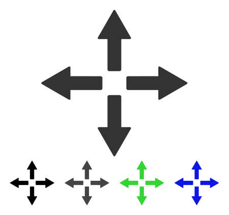 Expand Arrows flat vector illustration. Colored expand arrows gray, black, blue, green icon versions. Flat icon style for graphic design. Illustration