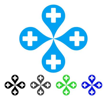 Carte graphique de l'hôpital icône de vecteur plat. Marqueurs de cartes d'hôpitaux colorés gris, noir, bleu, pictogramme vert. Style d'icône plat pour la conception graphique.