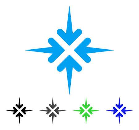 Impact Arrows flat vector pictograph. Colored impact arrows gray, black, blue, green pictogram versions. Flat icon style for graphic design. Ilustração