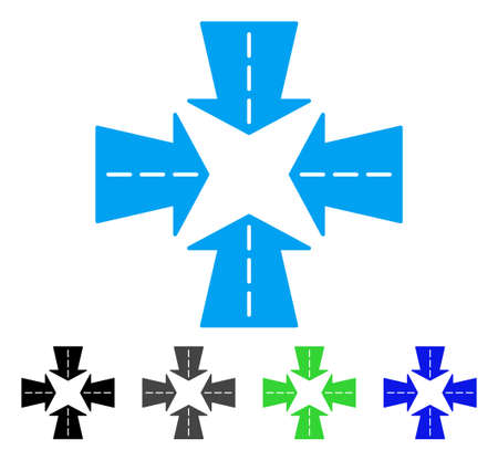 shrink: Merge Directions flat vector icon. Colored merge directions gray, black, blue, green icon versions. Flat icon style for graphic design.