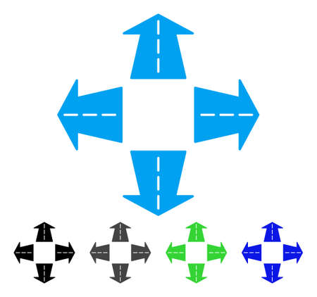 Road Directions flat vector pictogram. Colored road directions gray, black, blue, green pictogram versions. Flat icon style for application design. Illustration