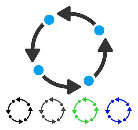 tetra: Rotate flat vector pictogram. Colored rotate gray, black, blue, green icon versions. Flat icon style for graphic design. Illustration