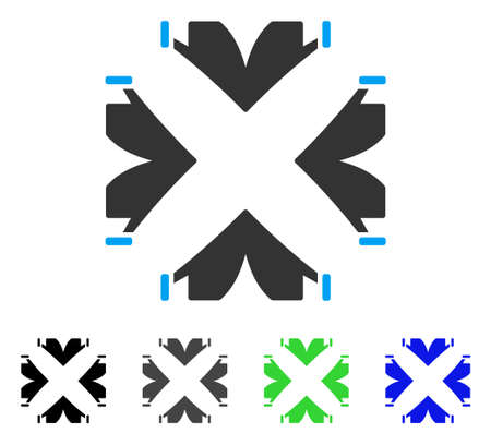 tetra: Tent Camp flat vector pictogram. Colored tent camp gray, black, blue, green pictogram variants. Flat icon style for web design.