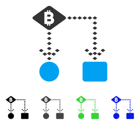 Bitcoin Algorithm Scheme flat vector icon. Colored bitcoin algorithm scheme gray, black, blue, green pictogram versions in flat icon style for graphic design.
