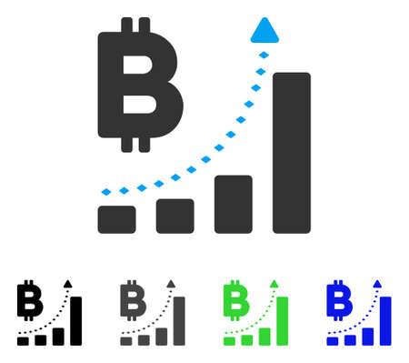 Bitcoin 棒グラフの肯定的な傾向のフラットのベクトルのアイコン。グラフの肯定的な傾向の灰色バー bitcoin を着色用フラット アイコンのスタイルで
