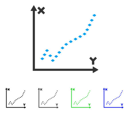 plot: Dotted Function Plot flat vector illustration. Colored dotted function plot gray, black, blue, green pictogram variants. Flat icon style for graphic design.