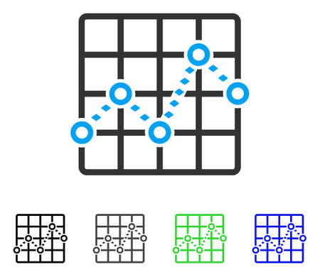 plot: Dotted Line Grid Plot flat vector icon. Colored dotted line grid plot gray, black, blue, green pictogram variants. Flat icon style for web design.