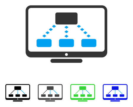 hyperlink: Hierarchy Monitoring flat vector icon. Colored hierarchy monitoring gray, black, blue, green pictogram variants. Flat icon style for graphic design.