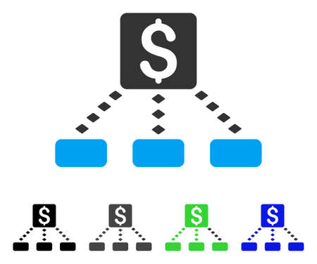 hierarchy: Cashout Scheme flat vector pictogram. Colored cashout scheme gray, black, blue, green pictogram variants. Flat icon style for graphic design.