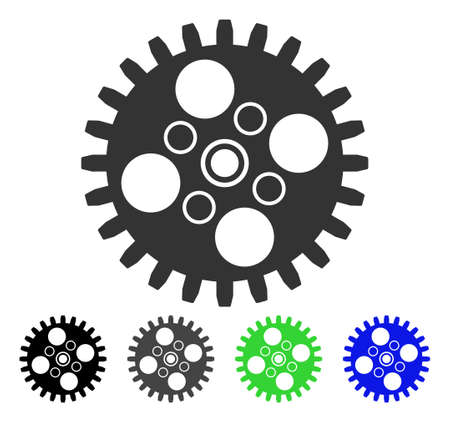 Cogwheel flat vector pictogram. Colored cogwheel gray, black, blue, green icon versions. Flat icon style for application design.