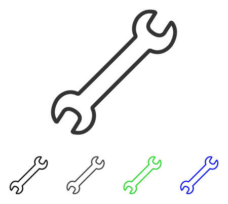 Contour Wrench flat vector pictogram. Colored contour wrench gray, black, blue, green pictogram versions. Flat icon style for application design.