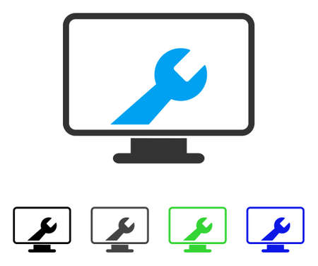 setup: Desktop Options flat vector pictograph. Colored desktop options gray, black, blue, green icon variants. Flat icon style for graphic design.