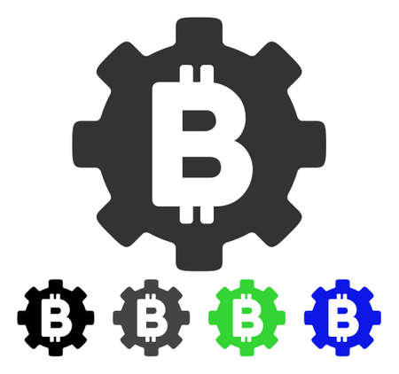 Bitcoin Development Gear flat vector pictogram. Colored bitcoin development gear gray, black, blue, green icon variants. Flat icon style for application design.