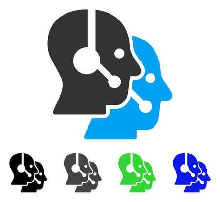 Operadores de centro de llamadas icono de vector plano. Operadores colorados del centro de la llamada versiones grises, negras, azules, verdes del pictograma. Estilo de iconos planos para el diseño de aplicaciones.